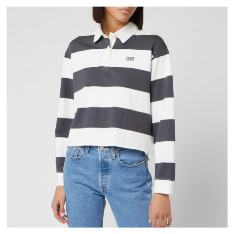 Levi's Women's Letterman Rugby Long Sleeve Cropped Top - Amy Stripe Forged Iron Levi´s