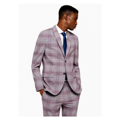 Mens Red Check Skinny Fit Single Breasted Suit Blazer With Peak Lapels, Red Topman