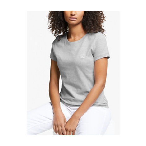 Calvin Klein Jeans Embroidered Logo Slim T-Shirt, Light Grey Heather