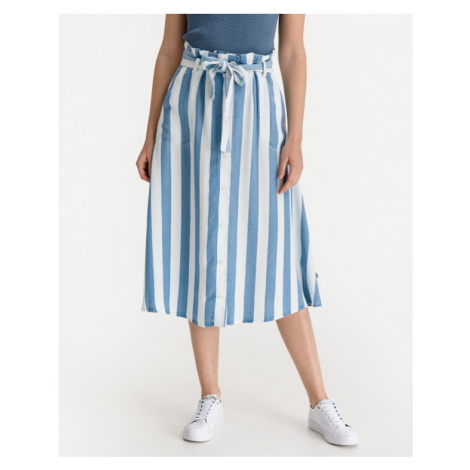 Lee Button Front Skirt Blue White