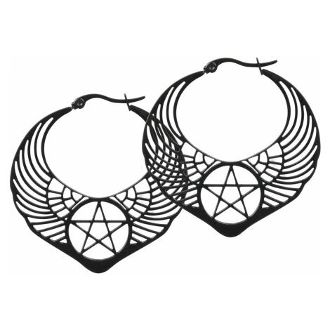 Wildcat - Winged Pentagram Hoops - Earring set - black