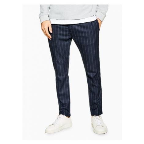 Mens Navy Stripe Trousers, Navy Topman