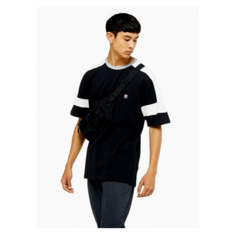 Mens Black Cut And Sew T-Shirt, Black Topman
