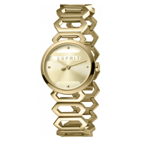 Esprit Arc Women's Watch featuring a Stainless Steel, Gold Coloured Strap and Champagne Dial