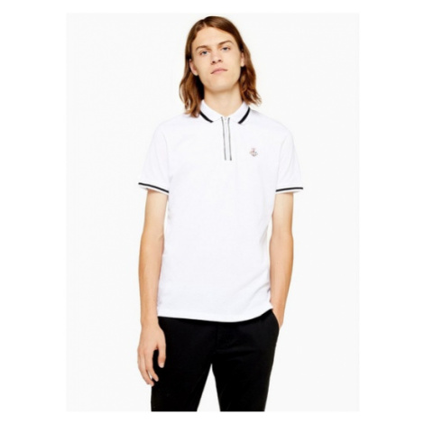 Mens White And Black Embroidered Polo, White Topman