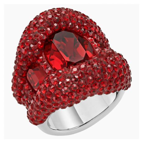 Tigris Cocktail Ring, Red, Palladium plated Swarovski