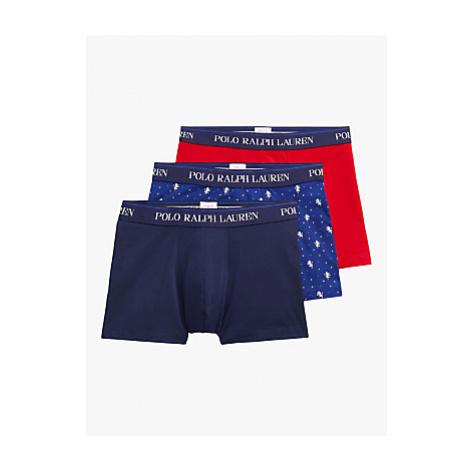 Polo Ralph Lauren Plain All Over Print Trunks, Pack of 3, Navy/Blue/Red