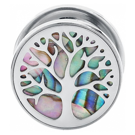Wildcat Tree of Life Ear Plug silver coloured