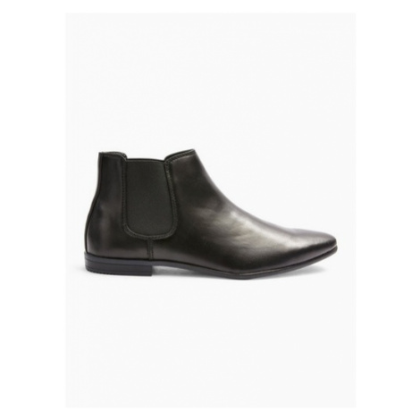 Mens Black Leather Briar Chelsea Boots, Black Topman