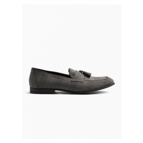 Mens Grey Check Prince Check Loafers, Grey Topman