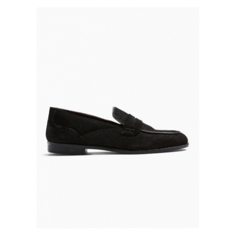 Mens House Of Hounds Black Suede Clash Penny Suede Loafers, Black