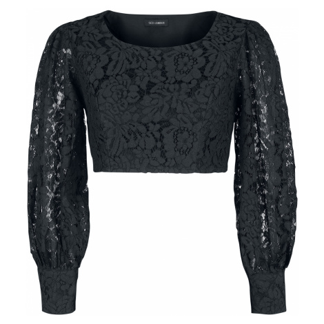 QED London - Crochet Square Neck Puff Sleeve Top - Girls longsleeve - black