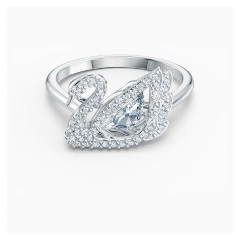 Dancing Swan Ring, White, Rhodium plated Swarovski