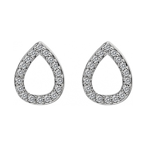 Hot Diamonds White Topaz and Diamond Teardrop Stud Earrings, Silver