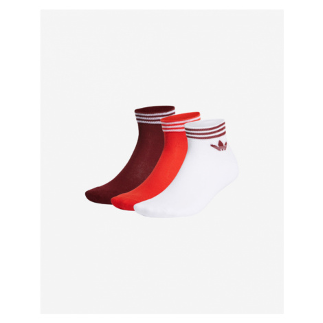 adidas Originals Trefoil Ankle Set of 3 pairs of socks Red White
