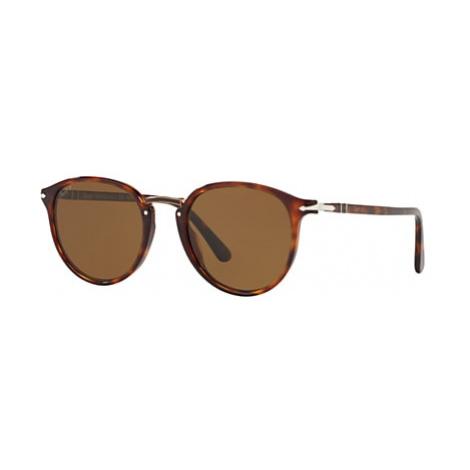 Persol PO3210S Men's Polarised Oval Sunglasses, Tortoise/Brown