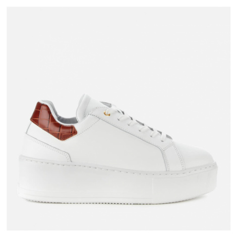 Dune Women's Elden Leather Flatform Trainers - White - UK