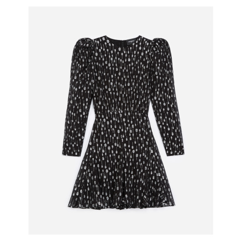 The Kooples - Short black dress with silver polka dots - WOMEN