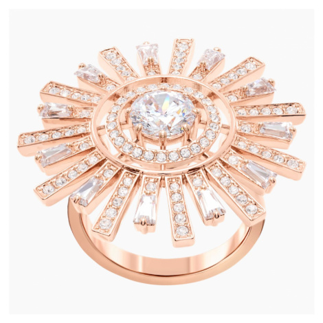 Sunshine Cocktail Ring, White, Rose-gold tone plated Swarovski