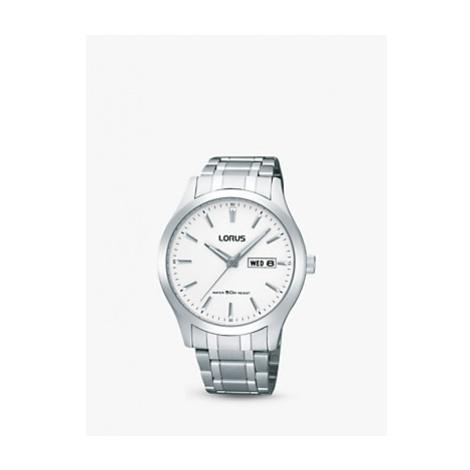 Lorus RXN25DX9 Men's Day Date Bracelet Strap Watch, Silver/White