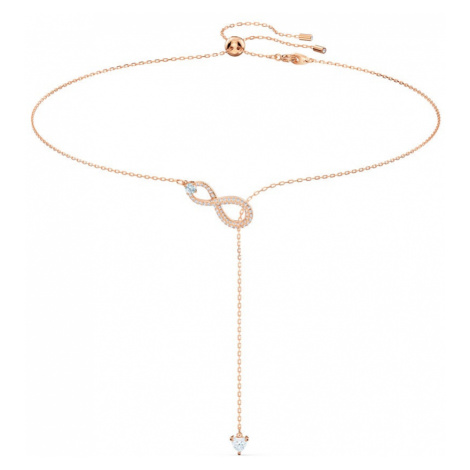 Swarovski Infinity White Crystal Rose Gold Plated Lariat Necklace