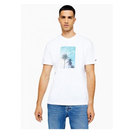 Mens Tommy Hilfiger White Photo Print T-Shirt, White