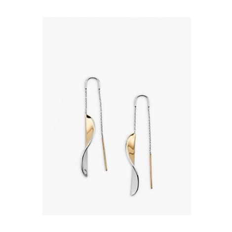 Skagen Kariana Twist Hook Drop Earrings, Silver/Gold SKJ1269998