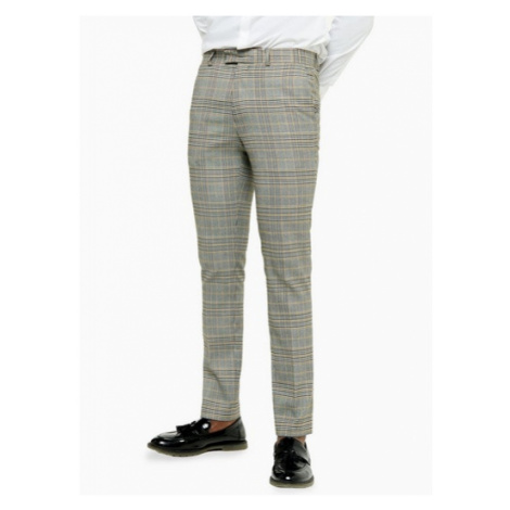 Mens Grey Stone Check Skinny Fit Suit Trousers, Grey Topman