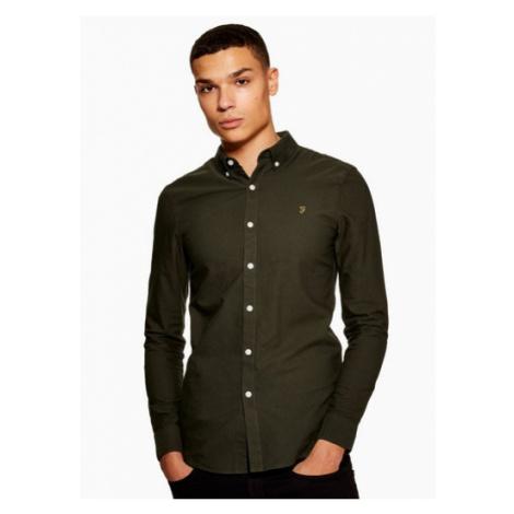 Mens Farah Green 'Brewer' Slim Long Sleeve Shirt*, GREEN