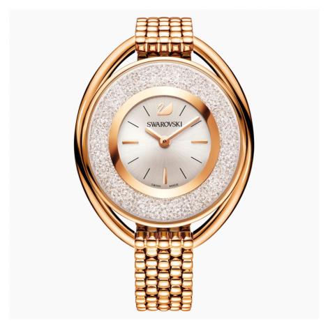 Crystalline Oval Watch, Metal bracelet, White, Rose-gold tone PVD Swarovski