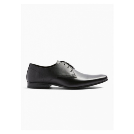 Mens Black Leather Bright Emboss Shoes, Black Topman