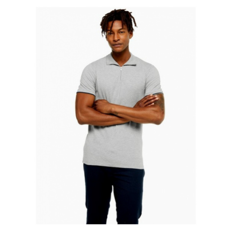 Mens Selected Homme Grey Zip Chip Polo, Grey