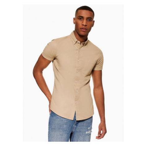 Mens Stone Stretch Skinny Oxford Shirt, Stone Topman