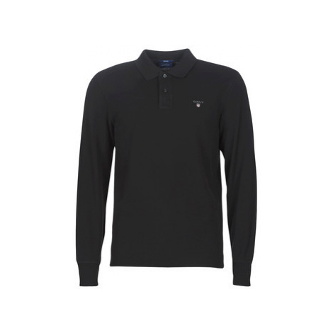 Gant THE ORIGINAL PIQUE LS RUGGER men's Polo shirt in Black