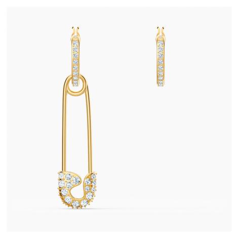 So Cool Pin Pierced Earrings, White, Gold-tone plated Swarovski