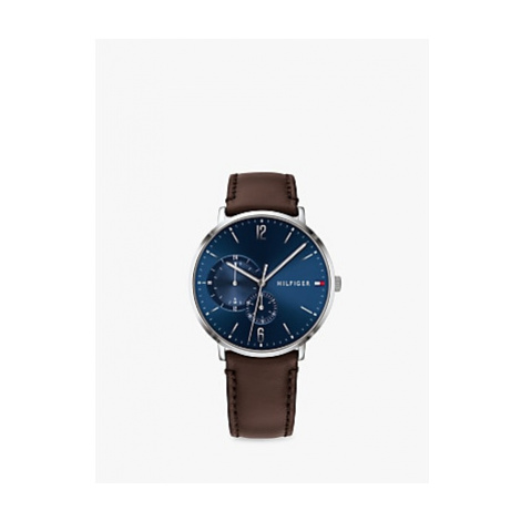 Tommy Hilfiger 1791508 Men's Leather Strap Watch, Brown/Blue