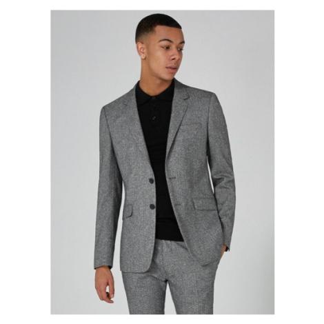 Mens Mid Grey Grey Salt And Pepper Super Skinny Fit Suit Jacket, Mid Grey Topman