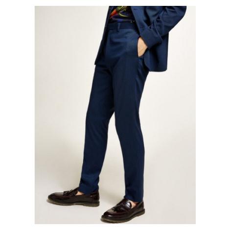 Mens Blue Textured Skinny Fit Suit Trousers, Blue Topman