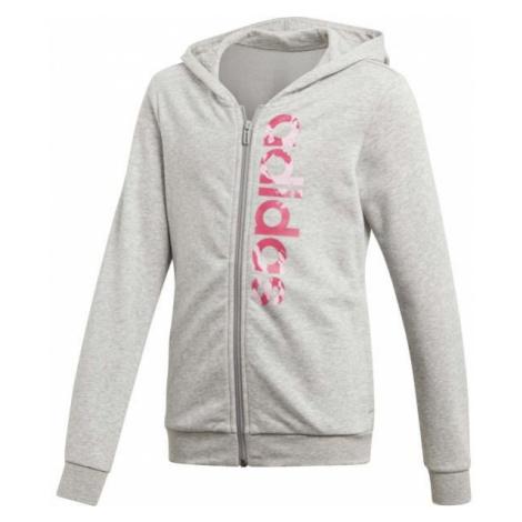 adidas ESSENTIALS LINEAR AOP HOODIE grey - Girls' sweatshirt