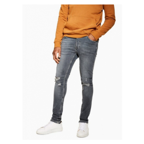 Mens Grey Ripped Stretch Skinny Jeans, Grey Topman