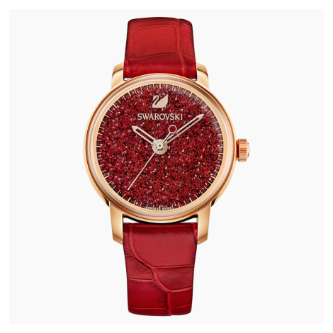 Crystalline Hours Watch, Leather strap, Red, Rose-gold tone PVD Swarovski