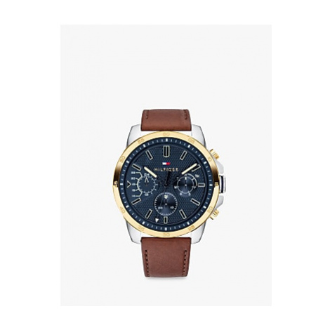 Tommy Hilfiger 1791561 Men's Chronograph Leather Strap Watch, Brown/Blue