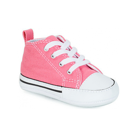 Converse CHUCK TAYLOR FIRST STAR CANVAS HI girls's Children's Shoes (High-top Trainers) in Pink