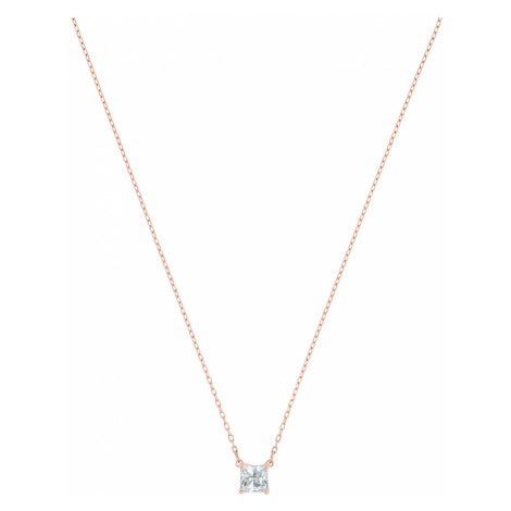 Attract Necklace, White, Rose-gold tone plated Swarovski