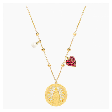 Lucky Goddess Wings Necklace, Multi-coloured, Gold-tone plated Swarovski