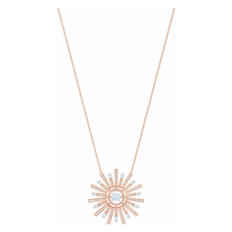 Sunshine Necklace, White, Rose-gold tone plated Swarovski