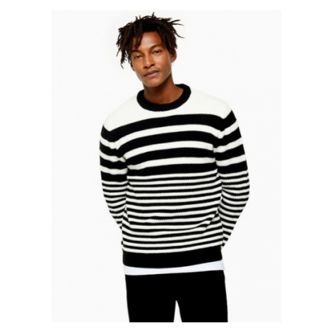 Mens Multi Black And White Stripe Jumper, Multi Topman