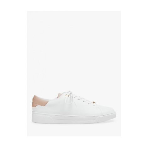 Ted Baker Zenib Leather Trainers, White/Pink
