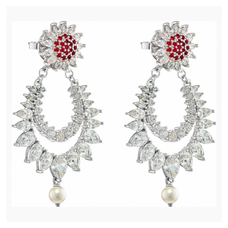 Botanical Pierced Earrings, Red, Rhodium plated Swarovski