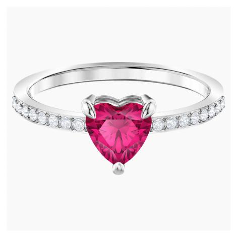One Heart Ring, Red, Rhodium plated Swarovski